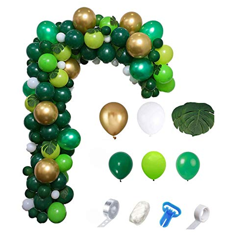 AAAHHH Jungle Safari Theme Balloon Decoration Garland Arch Kit Tropical Leaves Gold Green Latex Balloons Forest Summer Christmas Baby Birthday Party Decor for Boys Girls