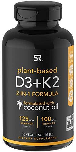 Vitamin D3 + K2 with Organic Virgin Coconut Oil | Vegan D3 (5000iu) with MK7 Vitamin K2 (100mcg) from Chickpea | Non-GMO & Vegan Certified (30 Count)