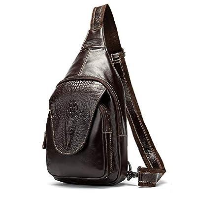 Handmade Genuine Leather Crossbody Sling Bag Crocodile Embossing Chest Bag Waterproof Shoulder Bag Coffee