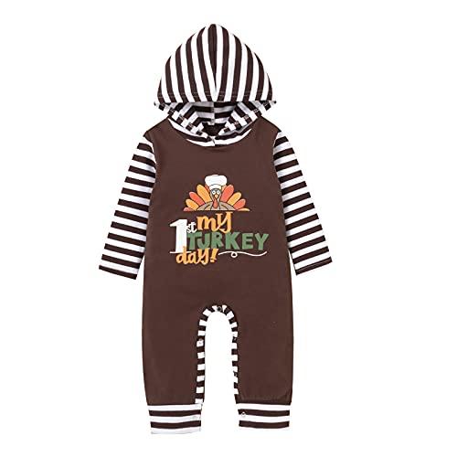 Mameluco de otoño para recién nacido, ropa de Acción de Gracias, con capucha, manga larga, para ir a casa, con botones, para niños y niñas, de 0 a 24 meses, café, 24 meses