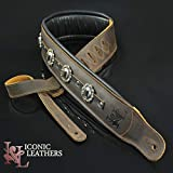 Iconic Leathers CUSTOM SHOP 3.25' Brown Leather Conchos #1 Dual Padded Guitar and Bass Strap IL-5CustBrn1