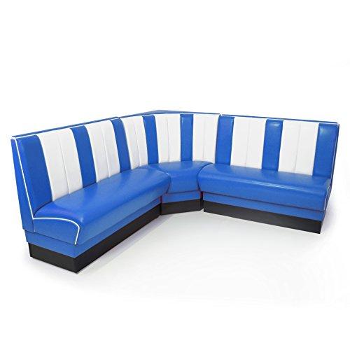 möbelland24 American Diner Eckbank blau Set Viber 2X Sitzbank 122cm + Eckbank 78x78cm Retro