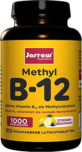 Methyl B12 1000 µg, aktives Vitamin B12 als Methylcobalamin, rosafarbene Lutschtabletten mit Zitronengeschmack, 500 µg pro Tagesdosis, vegan, hochdosiert, Jarrow