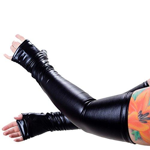 Rubberfashion Lange Wetlook Handschuhe, Opern Handschuhe bis zum Oberarm mit beschichteter Oberfläche für Frauen und Herren Menge: 1 Paar metallic Schwarz M