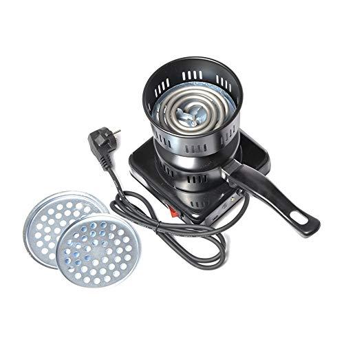 LovelysunshiDEany Elektrische Shisha Kohle Starter Burner Shisha Grill Starter Kohle-Brenner mit abnehmbaren Tablett und abnehmbare Zange (220 V) - Schwarz