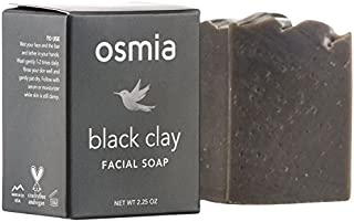Osmia Black Clay Cleansing Facial Soap - Hydrating Australian Clay, Exfoliating Dead Sea Mud & Coconut Milk Bar for Face w...