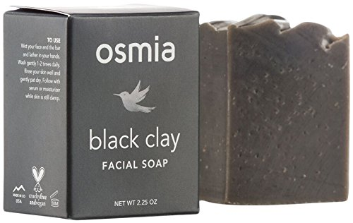 Osmia Black Clay Cleansing Facial Soap - Hydrating Australian Clay, Exfoliating Dead Sea Mud & Coconut Milk Bar for Face - Perfect for Normal, Problem & Combination Skin (2.25 oz.)