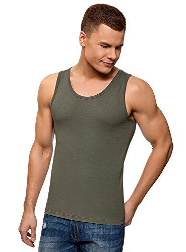 oodji Ultra Hombre Camiseta de Tirantes Básica, Verde, L