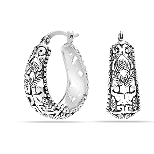 LeCalla Sterling Silver Jewelry Antique Oval Floral Filigree Light-Weight Small Hoop Earrings for Women Girls