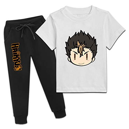 CAPINER Youth Summer Y-u NIS-hin-OYA Cotton T-Shirt and Fashion Sweatpants Outfits 2 Pieces Sets Boys Girls Large White