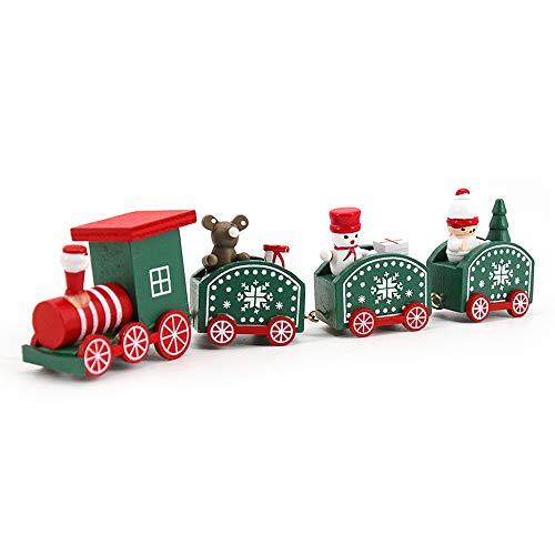 Lifreer Set di Giocattoli in Legno del Treno di Natale Mini Caravan Trenino con 3 carrozze per Bambini Regalo Decorazioni Natalizie (Verde)