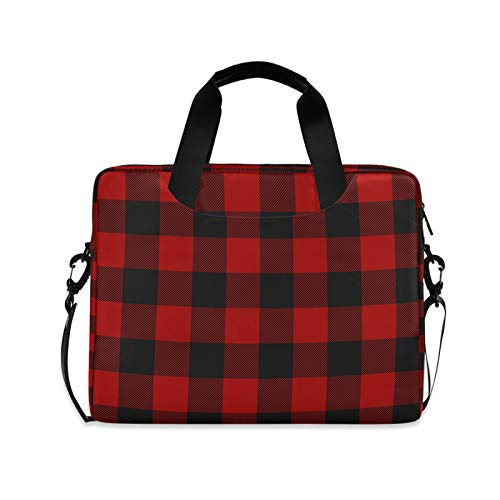 Yulife Vintage Buffalo Plaid Laptop Bag Sleeve Case for Women Men Briefcase Tablet Messenger Shoulder Bag with Strap Notebook Computer Case 14 15.6 16 Inch for Kids Girls Business