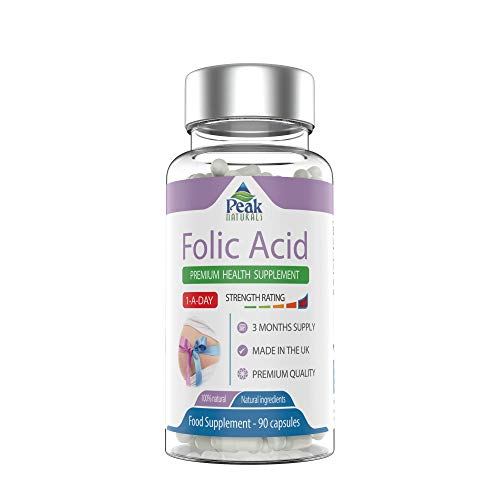 High Strength Folic Acid for Pregnancy 400mcg Daily. 90 Capsules for 3 Months Supply. Recommended for Healthy Pregnancy and Foetus Development. Made in The UK
