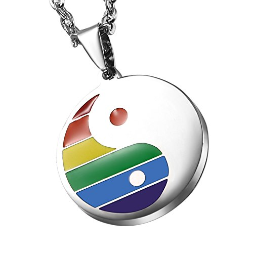 Cupimatch Vintage Mens Women Rainbow Stainless Steel Chinese Symbol Taiji Yin Yang Pendant Necklace with 22' Chain