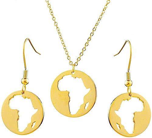 TYWZH Collar de Acero Inoxidable mapas africanos Conjunto de Joyas de Color Dorado Estilo Hip-Hop Redondo Mapa de África Collares Pendientes joyería para Mujeres N