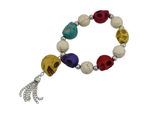 Things2Die4 Stretch-Armband mit Totenkopf-Perlen und Chrom-Akzenten