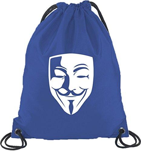 Shirtstreet24, ANONYMOUS MASKE, Guy Fawkes Vendetta Turnbeutel Rucksack Sport Beutel, Größe: onesize,Royal Blau