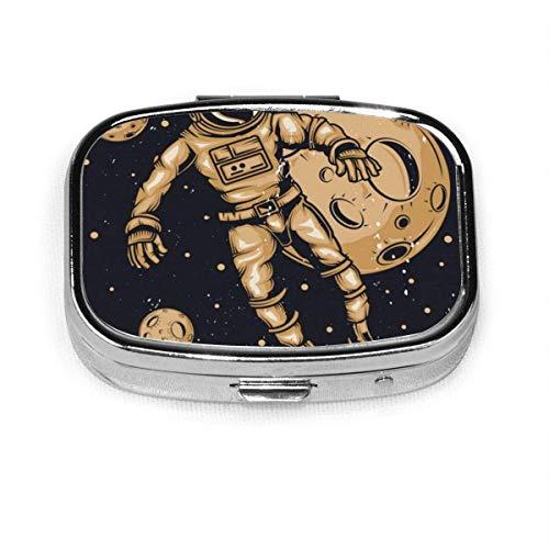 Space Starry Astronaut Skull Custom Fashion Silver Square Pill Box Medicine Tablet Holder Wallet Organizer Case for Pocket Or Purse Vitamin Organizer Holder Decorative Box