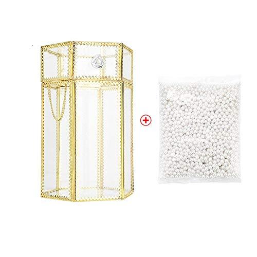 Rinder Porte-pinceaux de maquillage en verre avec bordure dorée et perles blanches