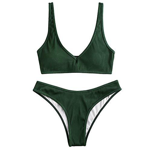 ZAFUL Damen Gepolsterte Bikini Set, Texturiert V-Ausschnitt High Cut Bikini Badeanzug Sommer (Dunkelgrün,M)