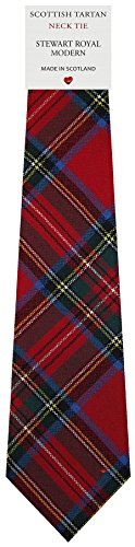 I Luv Ltd Cravate en Laine pour Homme Tissée et Fabriquée en Ecosse à Stewart Royal Modern Tartan
