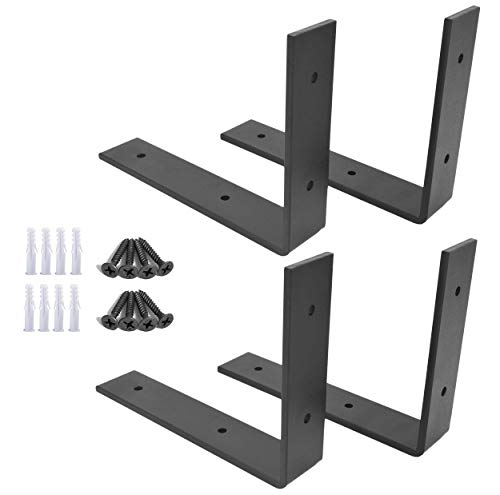OVOV 4 Pieces Iron Steel Shelf Bracket Heavy Duty Thicken L Floating Countertop Support Bracket for Wall Hanging Decorative(Black) 10'