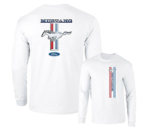 Ford Mustang Pony Racing Stripe 5.0 Muscle Shelby Long Sleeve T-Shirt Front Back...