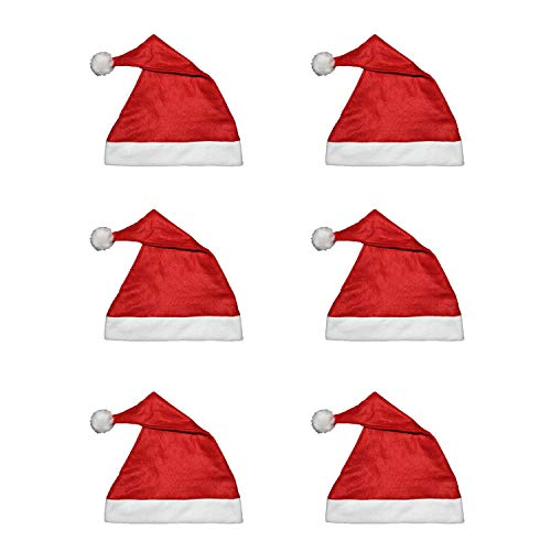 Spaßaffe 6X Erwachsene Nikolausmütze, Weihnachtsmütze, Nikolaus, Weihnachtsmann,rot