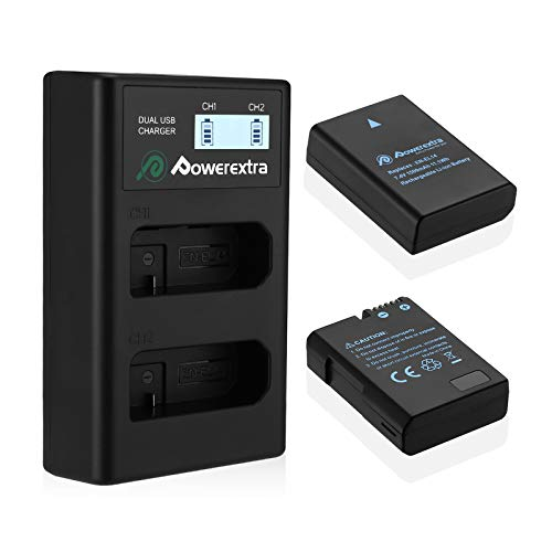 Powerextra 2 x EN-EL14 EN-EL14a Battery & Dual LCD Charger Compatible with Nikon D5600 D5500 D5300 D5200 D5100 D3500 D3400 D3300 D3200 D3100 Df Coolpix P7800 P7700 P7200 P7100 P7000
