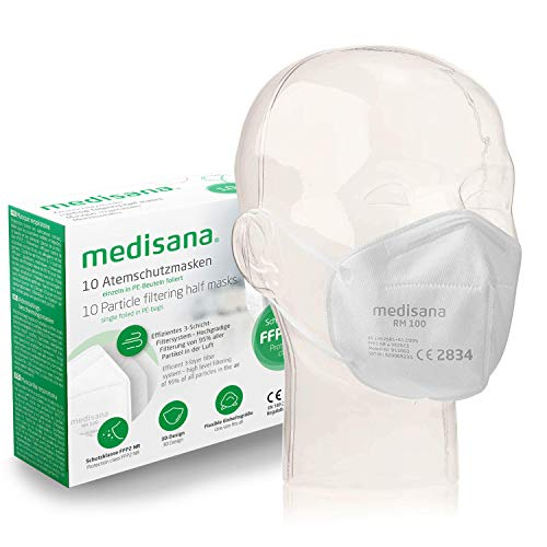 Medisana FFP2/KN95 10x Mascarilla de Protección Persona, Mascara antipolvo, RM 100, protección bucal de 3 capas, Máscara facial en una bolsa de PE - certificada CE 2834 - UE 2016/425