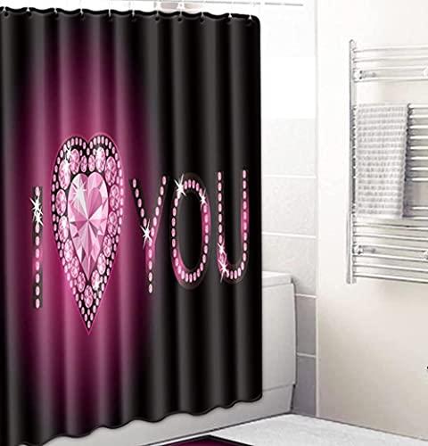 Liebe Herz Buchstaben Duschvorhänge Wasserdicht Badezimmer Gardinen Trennvorhang Schimmel Proof Bad Vorhang Mit 12 Haken 180 X 180 cm