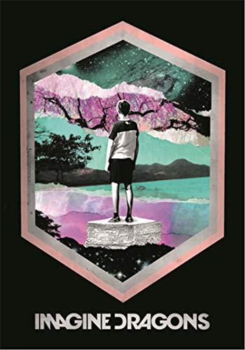 Heart Rock Bandiera Originale Imagine Dragons Framed, Tessuto, Multicolore, 110x75x0.1 cm