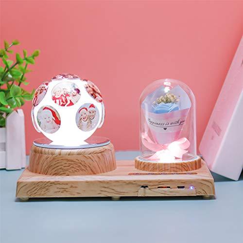 Lámpara De Cristal Personalizada Luz De Bola De Cristal Luz De Foto Música Bluetooth Con 11 Imágenes 7 Colores Navidad Luz De Noche Acción De Gracias Regalo Personalizado(Rosa Azul 5.6 * 3.5 IN)