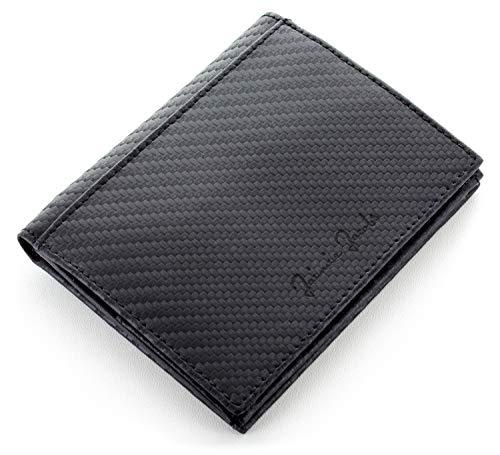 JAIMIE JACOBS Echtleder Geldbörse Folder Boy Slim Wallet mit Münzfach Scheinfach Platz für 20 Karten schlanker Geldbeutel im Hochformat mit RFID-Schutz für Herren und Damen (Carbon)