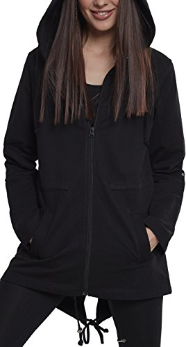 Urban Classics Damen Ladies Terry Parka Strickjacke, Schwarz (Black 00007), Small
