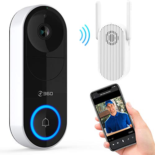360 D819 Timbre de video inteligente inalámbrico |1080P HD, Chime con extensor WiFi, Batería recargable de 5000mAh, Almacenamiento en nube, Reconocimiento facial con IA, Conversación bidireccional…