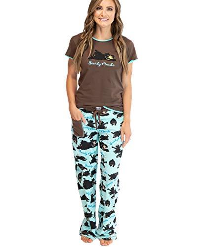 Lazy One Women's Pajama Set, Short Sleeves with Cute Prints, Fitted, Bear, Barely Awake, Animal (Bearly Awake, XX-Large)