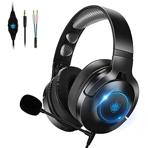 Auriculares para Juegos para PS4, Auriculares con Cable Xbox One con Micrófono Desmontable con Cancelación de Ruido, Auriculares Inalámbricos Bluetooth para Música - Azul