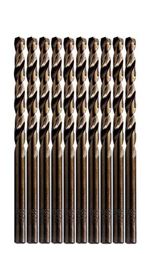 LETON HSS M35 Cobalt Drill Bit Set, Pack of 10 (5/32', 4.0mm)