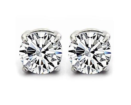 Orecchini a uomini e donne zircone cristallo round argento sterling 925/1000 (White 5AAA, 6)