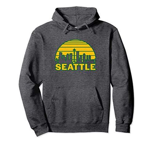 Vintage Seattle Washington Cityscape Retro Pullover Hoodie