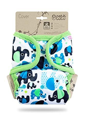 Petit Lulu Größe 2 Prefold PUL Überhose mit Laschen (4-15 kg) Druckknöpfe One Size Windelüberhose Baby Windelhose Waschbar & Wasserdicht Stoffwindeln Hergestellt in EU (Elefanten (blau))
