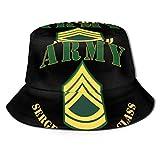 Lawenp Bolsillo - Ejército - SFC - Sombrero de Cubo Jubilado Unisex Plegable Verano Cubo de Viaje Sombrero de Sol Boonie Gorra de Pescador al Aire Libre
