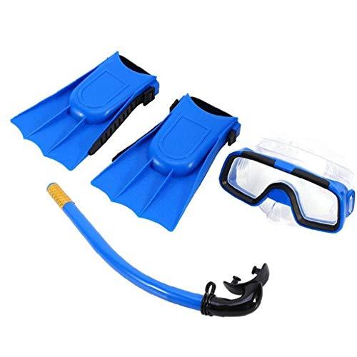 Liadance Conjunto de Buceo Snorkel Set Anteojos Tubo de respiración con Aletas para niños Azul