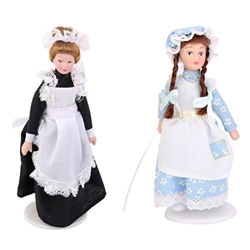 Gazechimp 2 Stück Puppenhaus Miniatur Porzellan Diener Puppe + Mädchenpupp, Dekoration für 1:12 Puppenhaus