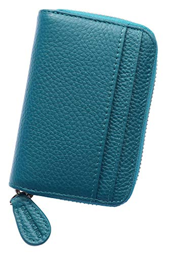 Womens Credit Card Holder Wallet Zip Leather Card Case RFID Blocking Ladies Small Blocked Accordion Wallets with Stainless Steel Zipper Woman Compact Accordian ID Cards Bag Sea Blue