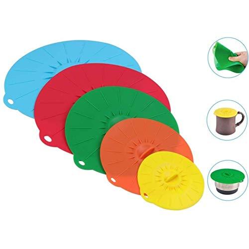 JJLng Silikon Deckel,Schussel Mit Deckel Silikon Seal Covers Küchen Zubehör 5 Stück Set