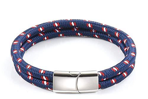 Pulsera de Cuerda - Nautica Trenzada para Hombre y Mujer Galeara design (Azul - Rojo, 195)