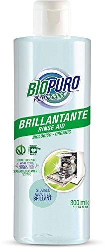 BIOPURO - Brillantante per Lavastoviglie Bio - 3in1: Detergente, Brillantante e Anticalcare - AIAB, Vegan, Dermatologicamente Testato, Nickel Tested - 300 ml