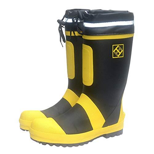 Wellingtons Botas De Seguridad Para Hombre Tapa De Puntera De Acero Zapatos De Trabajo A Prueba De Agua No Resbalón Reflectante Ajustable Botas De Lluvia,Amarillo,41EU